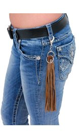 Jamin Leather Long Brown Leather Fringe Key Chain with Claw Clip #KC1801N