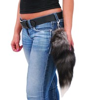 Jamin Leather Genuine Fox Tail Key Ring w/Claw Clip #KC500FOX