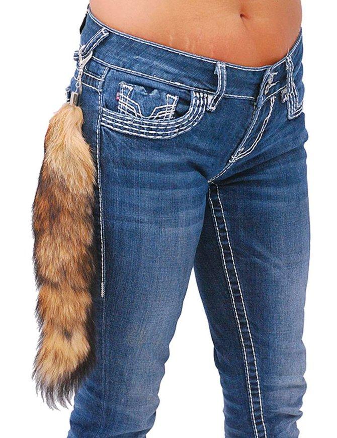 Jamin Leather Genuine Red Fox Tail Key Ring w/Claw Clip #KC575FOX