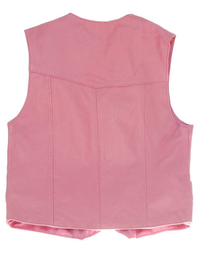 Childrens Pink Leather Vest #KV1230PINK