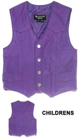 Childrens Purple Leather Vest #KV1230PURP
