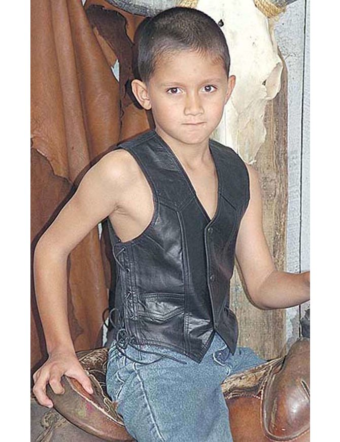 Childrens Side Lace Leather Vest #KV473LK