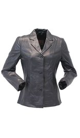Long Three Button Black Lambskin Leather Coat for Women #L0022BTK (S only)