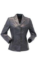 Long Three Button Black Lambskin Leather Coat for Women #L0022BTK (S-M)