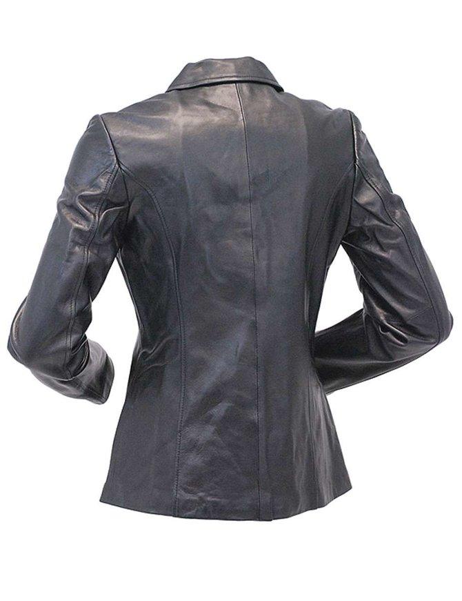 Long Three Button Black Lambskin Leather Coat for Women #L0022BTK