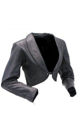 Ladies Black Leather Bolero #L1113K (XS-2X)