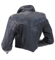 Ladies Black Leather Bolero #L1113K