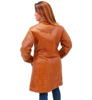 Women's Tan Genuine Sheepskin Fur Lined Trench Coat #L1319HN
