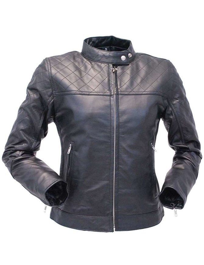 Jamin Leather Black Lambskin Leather Jacket w/Quilted Pattern #L1401006ZK