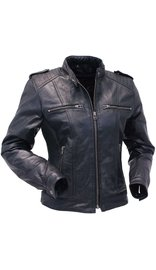 Jamin Leather Black Lambskin Leather Racer Jacket w/4 Front Pockets #L1401044ZK (S-3X)