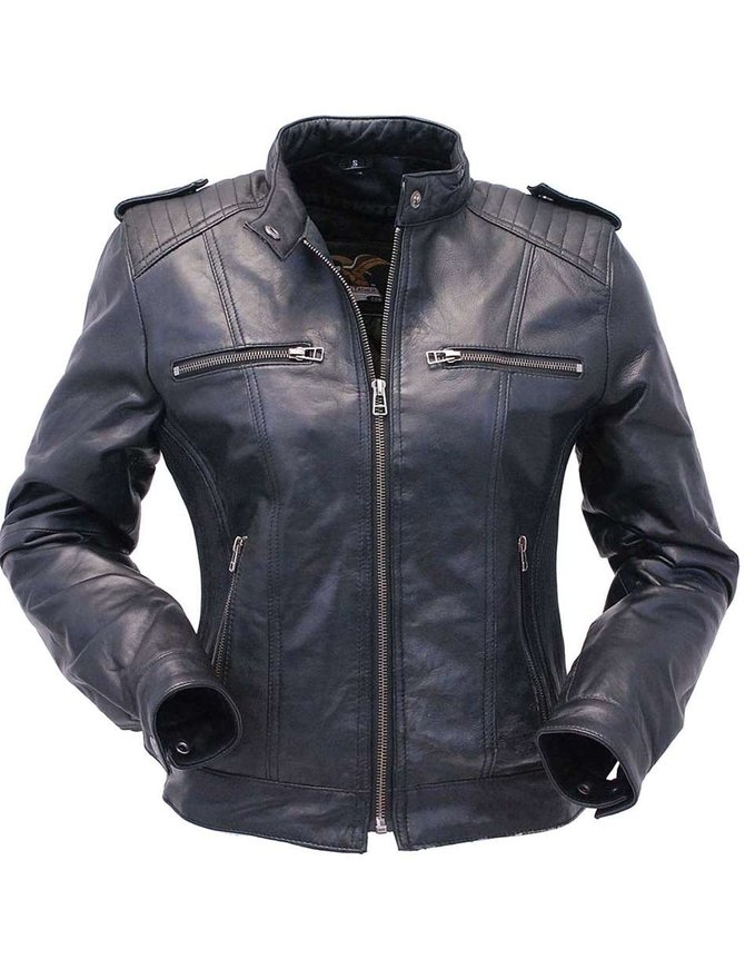 Jamin Leather Black Lambskin Leather Racer Jacket w/4 Front Pockets #L1401044ZK