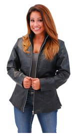 Jamin Leather Long Lambskin Leather Jacket w/Zip Through Butterfly Collar #L1401302ZL (S-3X)