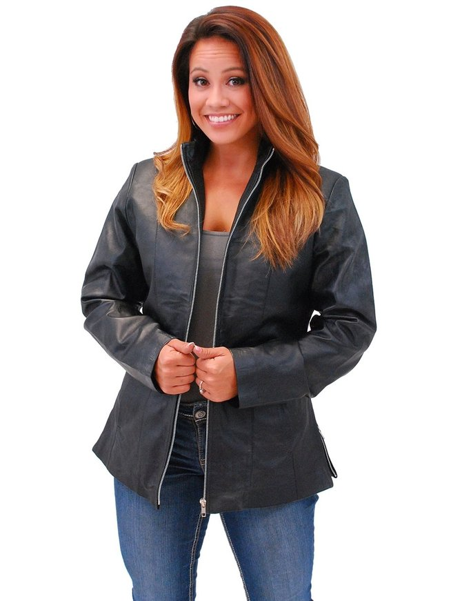 Jamin Leather Long Lambskin Leather Jacket w/Zip Through Butterfly Collar #L1401302ZL