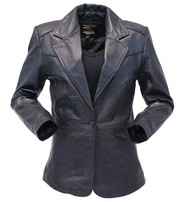 Jamin Leather Single Button Black Premium Leather Blazer for Women #L1401510K