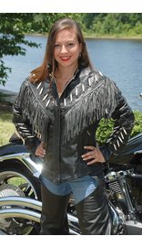 Jamin Leather Genuine Bone Studded Fringe Leather Jacket #L1615FBK