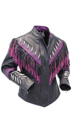 Jamin Leather Genuine Bone & Purple Fringe Leather Jacket #L1616FBPUR