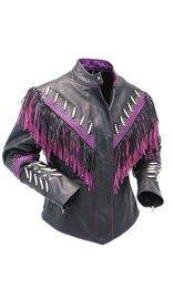 Jamin Leather Genuine Bone & Purple Fringe Leather Jacket #L1616FBPUR