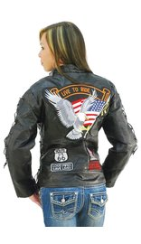 Women's Motorcycle Jacket w/Patches #L1890EAGLE