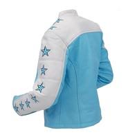 Unik Blue Star Cafe Racer Motorcycle Leather Jacket #L190ZUSTAR