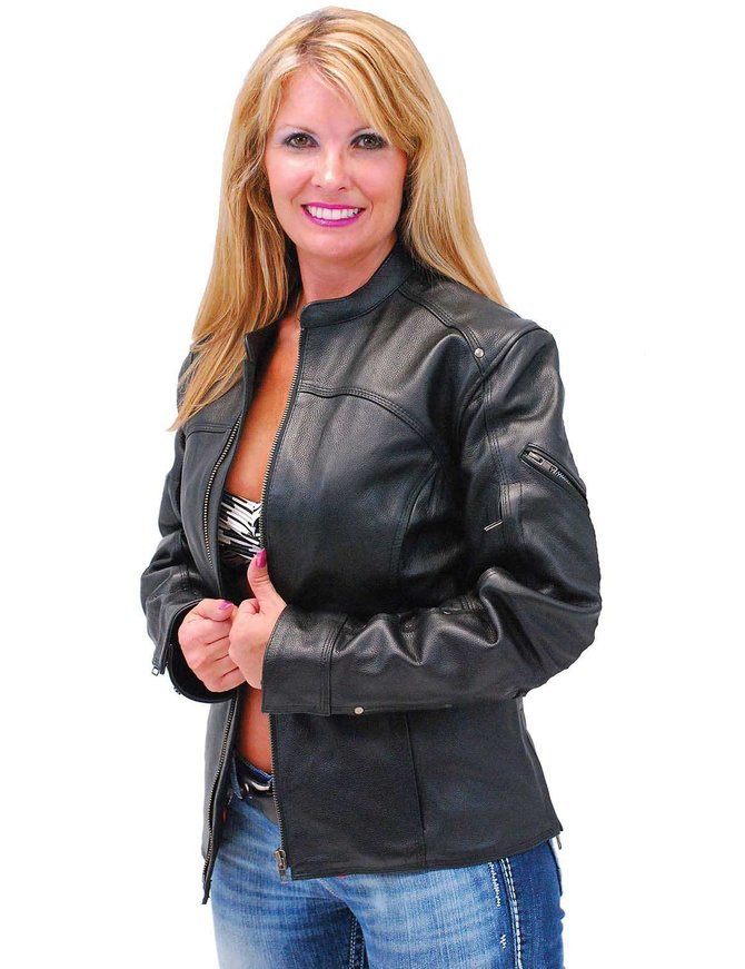First MFG Women's Vented Leather Scooter Jacket #L1924VZK