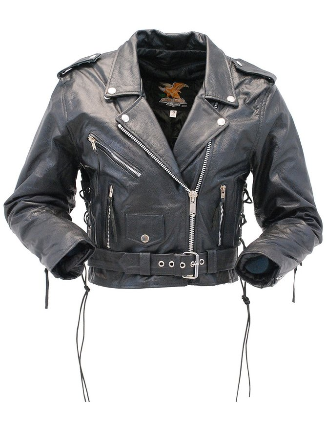Jamin Leather Sexy Crop Leather Motorcycle Jacket w/Zip Out & Side Lace #L201LK