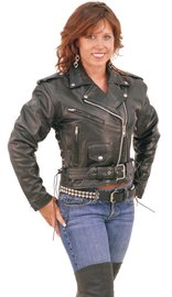 Jamin Leather Sexy Crop Leather Motorcycle Jacket w/Zip Out & Side Lace #L201LK (14-24)