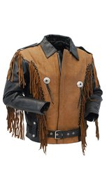 Womens / Boys Fringe Leather Jacket - Two-Tone Black and Brown #L206ZFBN (XS-M)