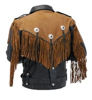 Womens / Boys Fringe Leather Jacket - Two-Tone Black and Brown #L206ZFBN
