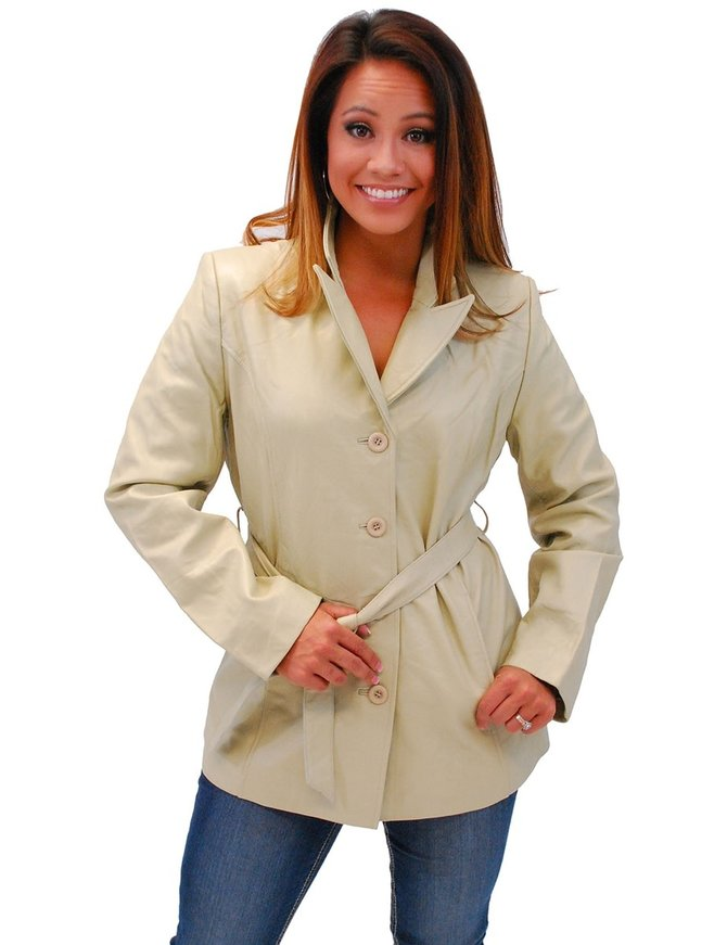 Cream White Belted Button Up Coat #L2491BTT