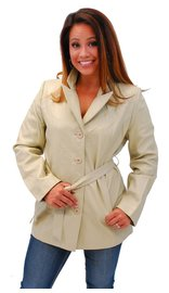 Cream White Belted Button Up Coat #L2491BTT (S-2X)