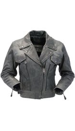 Women's Vintage Gray Leather Vented Utility Cruising Jacket #L2560VZGY (S only)