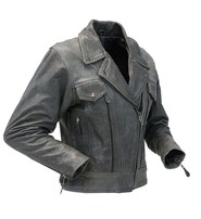 Women's Vintage Gray Leather Vented Utility Cruising Jacket #L2560VZGY