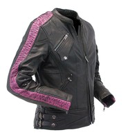 Milwaukee Purple Ribbon Striped Vented Motorcycle Jacket w/Dual CCW Pockets #L2571VZPUR