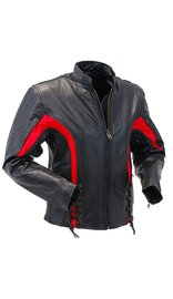 Women's Red Trim Lace Up Vented Motorcycle Jacket #L2577LVZR (L-2X)