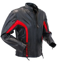 Women's Red Trim Lace Up Vented Motorcycle Jacket #L2577LVZR