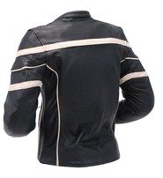Unik Women's Cream Stripe Vented Racer Motorcycle Jacket w/Armor #L259210AZC
