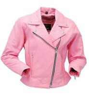 Jamin Leather Light Pink Leather Jacket - Road Angel Motorcycle Jacket #L26522ZP