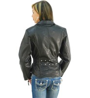 Women's Buffalo Leather Motorcycle Jacket - SPECIAL #L267SP