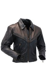 Women's Braid Trim Two-Tone Leather Motorcycle Jacket #L271ZBKN