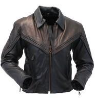 Women's Braid Trim Two-Tone Leather Motorcycle Jacket #L271ZBKN