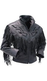 Women's Black Fringed Leather Jacket with Inlays #L285FZK (XS-S)