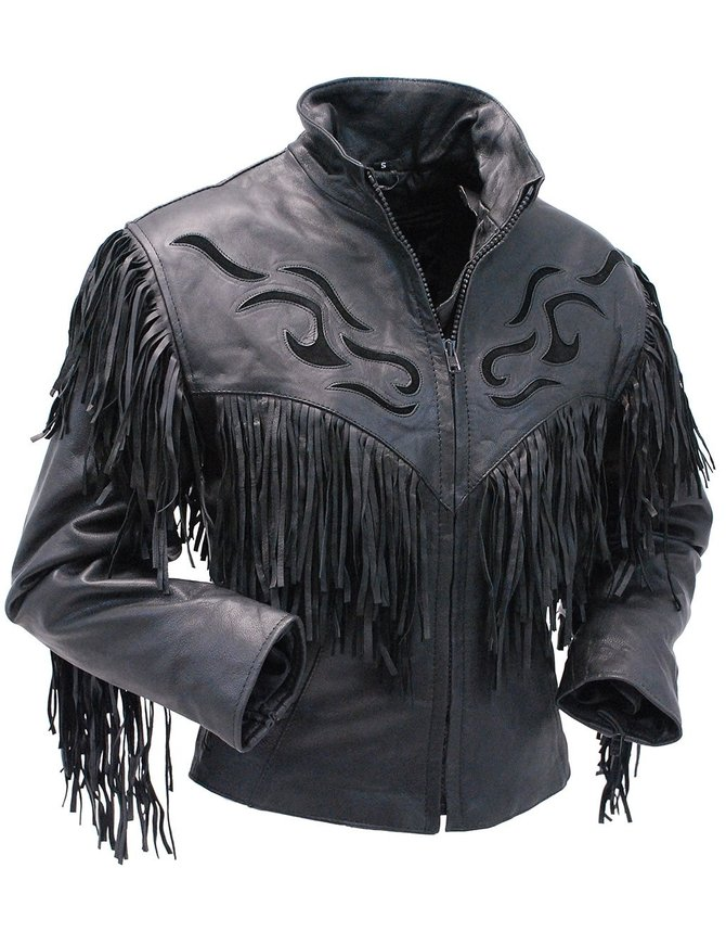 Women's Black Fringed Leather Jacket with Inlays #L285FZK