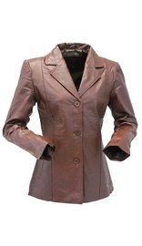 Brown Lightweight Women's 3 Button Leather Coat # L31BTN (S only)