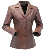 Brown Lightweight Women's 3 Button Leather Coat # L31BTN
