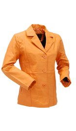 Pumpkin Spice Button-Up Leather Coat #L33BTM (S-M)