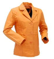 Pumpkin Spice Button-Up Leather Coat #L33BTM