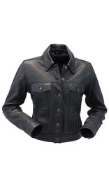 Women's Naked Cowhide Leather Jean Jacket #L381BTK (S-3X)
