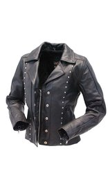 Jamin Leather Black Rivet Trim Cowhide Motorcycle Jacket for Women #L4042RZK (XS-5X)