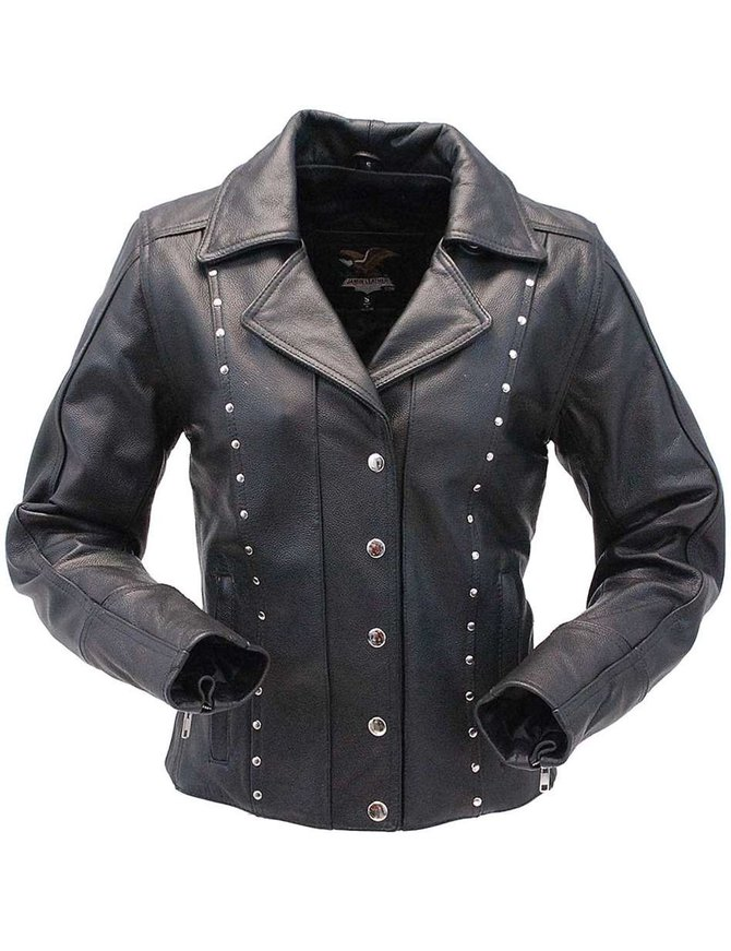 Jamin Leather Black Rivet Trim Cowhide Motorcycle Jacket for Women #L4042RZK