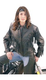 Jamin Leather V Fringed Leather Motorcycle Jacket for Women #L452ZFB